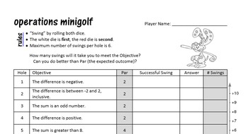 Math Integer Minigolf - a dice review game for operations and integers