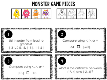 Integer Monster Board Game CCSS 6.NS.5, 6.NS.6, 6.NS.7, 6.NS.8 Aligned**