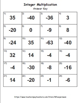 Integer Multiplication Task Cards
