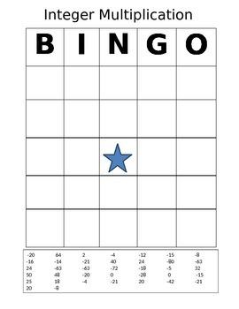 Integer Multiplication Bingo Card, Worksheet & Answers!