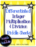 Integer Multiplication & Division Riddle Sheets - Differentiated