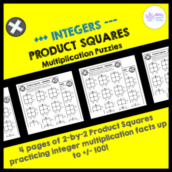 Multiplying Integers Puzzles - Product Squares (Rational Numbers)