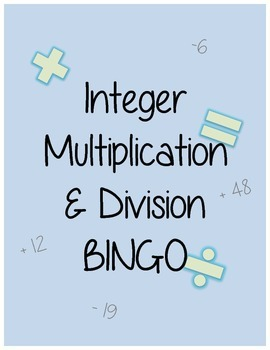 Integer Multiplication and Division BINGO