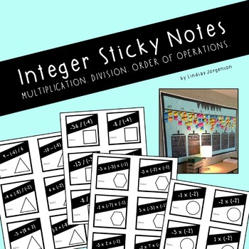 Integer Multiplication and Division Sticky Notes