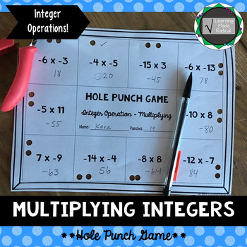 Integer (Multiplying) Operation Hole Punch Game 7.NS.A.2