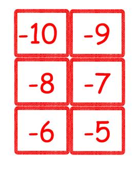 Integer Number Cards