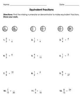 Equivalent Fractions SMARTBoard Lesson with Worksheet