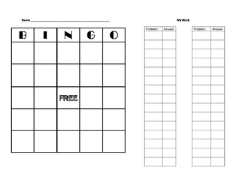 Integer Operation Bingo -20 to 20