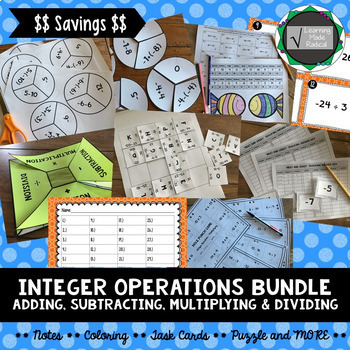 Integer Operations Bundle (Adding, Subtracting, Multiplying & Dividing) 7.NS.A.2