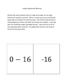 Integer Operation Memory Common Core Activity (7NS1 and 7NS2)