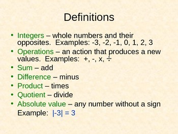 Integer Operation PPT Notes