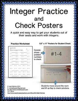 Integer Operation Practice with Poster Solutions *Quick an