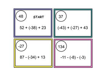 Integer Operation Self-Checking Task Cards