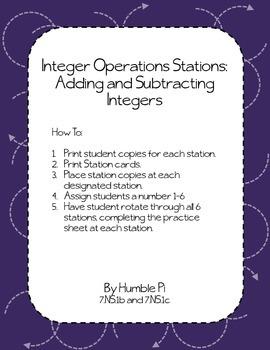 Integer Operation Stations Bundle-7.NS.1b,7.NS.1c, 7.NS.2a,7.NS.2b