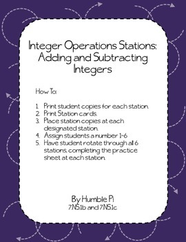 Integer Operation Stations Bundle-7.NS.1b,7.NS.1c, 7.NS.2a,7.NS.2b