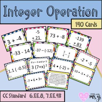 Integer Operation Task Card Bundle (140 cards)