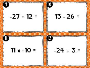 Integer Operation Task Cards (Adding, Subtraction, Multiplying & Dividing)
