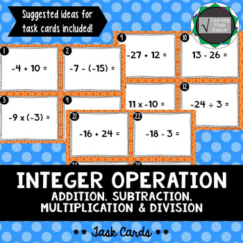 Integer Operation Task Cards (Adding, Subtraction, Multipl