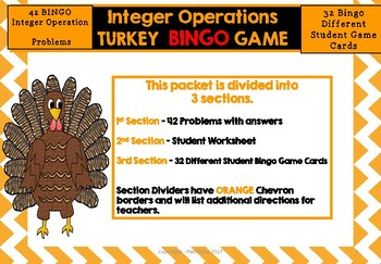 Integer Operation Turkey BINGO game. ( Also a great  Sub Folder Activity)