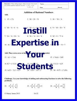 Integer Practice Worksheets for Addition, Subtraction, Multiplication, Division