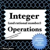 Integer Practice Worksheets for Addition, Subtraction, Multiplication, Division