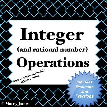 Integer Practice Worksheets for Addition, Subtraction, Mul