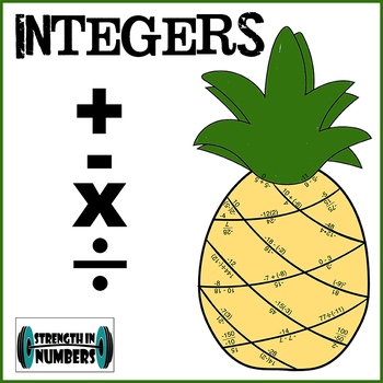 Integer Operations (Adding Subtracting Multiplying Dividing) Pineapple Puzzle
