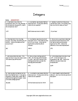 Integer Operations: All Operations Word Problems