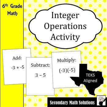 Integer Operations Activity (Amazing Race)  (6.3D, 7.3A)