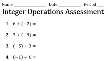 Integer Operations Assessment Pack (Keys Included)