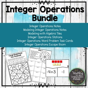 Integer Operations BUNDLE with stations, notebook page, and word problems