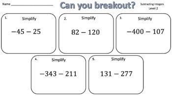 Integer Operations Breakout Bundle!  (8 Activities - 2 different levels)