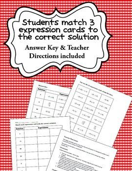 Integer Operations Bundle - Task Cards, Notes/Examples, Matching Activity