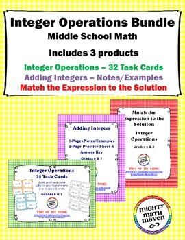 Integer Operations Bundle - Task Cards, Notes/Examples, Ma