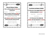 Integer Operations Card - Interactive Notebook