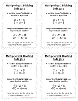 Integer Operations Cheat Sheets/Reference Sheets