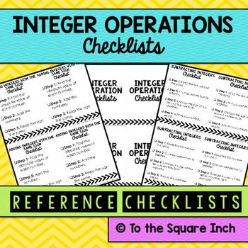 Integer Operations Checklists