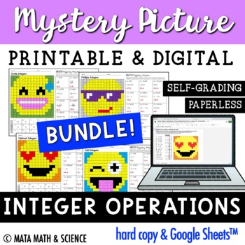 Integer Operations - Color + Solve Mystery Pictures (Emoji