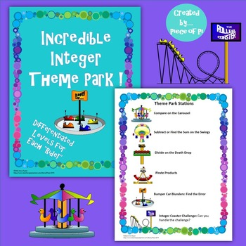 Integer Operations Compare Review Stations Differentiated Theme Park Test Prep