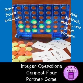 Integer Operations Connect Four Partner Game TEKS 6.3D