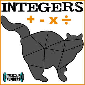 Integer Operations Cooperative CAT Puzzle for Display (great 4 Halloween!)