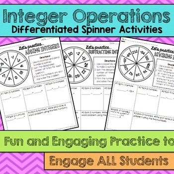 Integer Operations Differentiated Spinner Activities- Fun and Engaging Practice