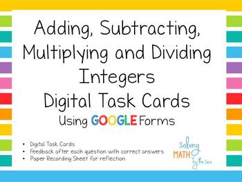 Integer Operations Digital Task Cards