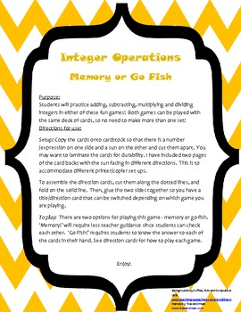 Integer Operations Game - Memory! or Go Fish!
