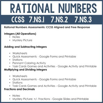 Integer Operations Notes and Activities Bundle