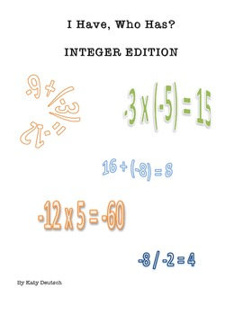 """Integer Operations """"I Have, Who Has?"""" Card Game (7.NS.1)"""