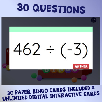 Integer Operations Interactive Bingo Review Game