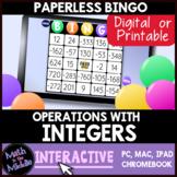 Integer Operations Digital Bingo Review Game - Paperless I