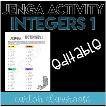 Integer Operations Jenga Activity - EDITABLE!