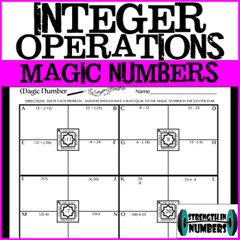 Integer Operations Magic Number Practice Worksheet (Self-Checking)